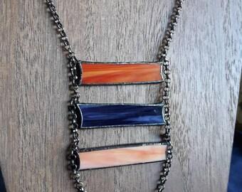 Multi-color triple bar necklace