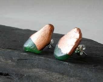 Green sea glass stud earrings with copper leaf, Copper earrings, Natural jewellery, Scottish sea glass, Girlfriend gift, Mismatched earring