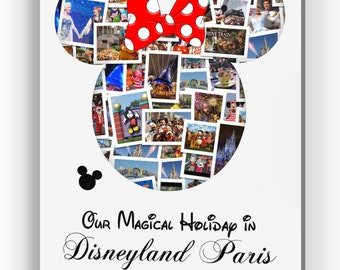 Personalised Disneyland Holiday Minnie Mouse Photo Collage Canvas, Print or Digital Copy