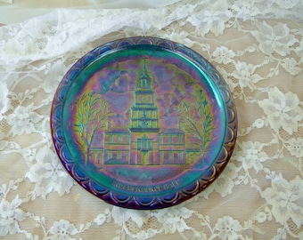 Independence Hall Carnival Glass Plate, Made for Bicentennial in 1976, Iridescent, Blue, Purple and Green