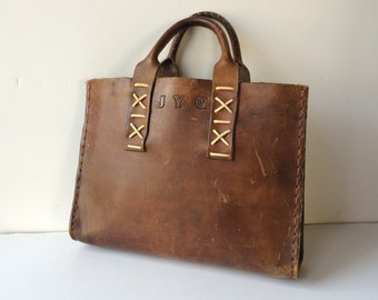 Brown Tooled Leather Briefcase Vintage Boho/Hippie Laptop Bag/Attache/Tote Monogrammed