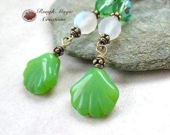 Spring Green Earrings, Long Shoulder Dusters, Beach Jewelry, Summer Earrings, Frosted White, Green Czech Glass Shells, Antiqued Brass E421