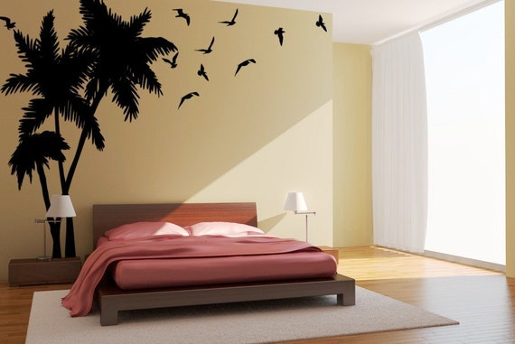 Large Palm Tree wall decal, Tropical Trees, Seagulls-Birds Vinyl Wall Art Decals, Beachy decor, Coastal decor