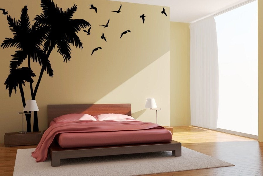Large Palm Tree wall decal, Tropical Trees, Seagulls-Birds Vinyl ...