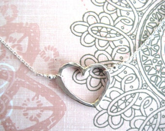 Sweetheart Necklace Open Heart Necklace, Sterling Silver Necklace, Heart Jewelry, Silver Heart Necklace, Bridal Jewelry