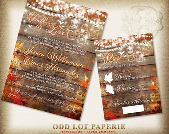 Fall Wedding Invitation Rustic Wedding Invite Country Wedding Mason Jar String Lights Autumn Leaves DIY Printable Rustic Wedding Set Digital