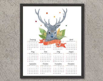 Printable calendar 2017 Watercolor deer, digital floral wall calendar, One page calendar, Instant download, desk calendar, fawn, 8x10 11x14