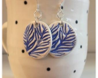 Royal Blue Ceramic Earrings