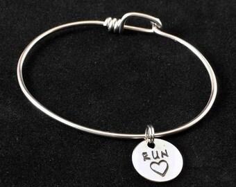Run Heart Charm Bicycle Spoke Bracelet