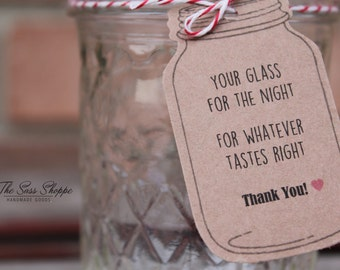 Glass For The Night - Mason Jar Shaped Customizable Favor Tag for Rustic, Woodland, or Vintage Wedding