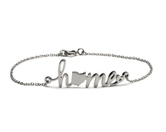 State of Ohio Home Stainless Steel Adjustable Bracelet