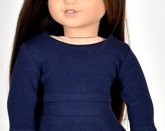 Long sleeve cropped top for 18 inch dolls Color Navy Blue