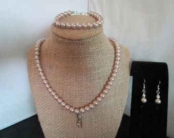 Taupe Colored Pearl Necklace , Earrings & Bracelet Set