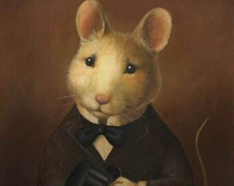 Mouse Portrait Print,  Mouse Print, Mouse Art, Victorian Mouse Art, Animal Portrait, Animal Lover, Mouse Lover, Vintage Mouse Art