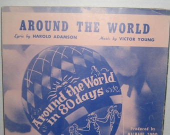 Around the World in 80 Days Original Sheet Music 1956 Harold Adamson Victor Young