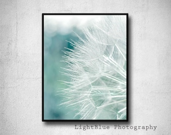 Dandelion Print Nature Photography Flower Printable Dandelion Teal Photography Download Romantic Home Decor Boho Decor Birthday Gift