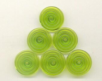 15, 16, 17mm range, Tom's handmade lampwork transparent dark grass green 2 disc bead set, 1 pair 96029-1B