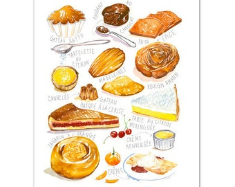 French kitchen wall art, French cake varieties art print, Watercolor bakery painting, French food illustration, Cake art, Dining room decor