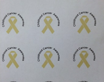 Childhood Cancer Awareness Stickers Gold Ribbon