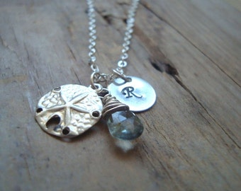 Monogrammed Sand Dollar Necklace Bridal Jewelry Birthstone Jewelry Personalized Aquamarine Necklace Mothers Day Summer Weddings
