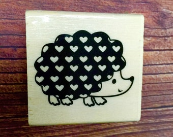 HEDGEHOG Rubber Stamp with Hearts Valentine Heart Valentines Day Wood Mounted Rubber NEW Cards Pinterest Craft Cards Crafts woodland animal