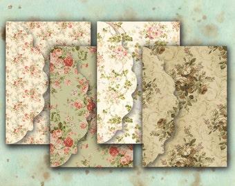 Floral Envelopes Digital Collage Sheet Download -545- Digital Paper - Instant Download Printables