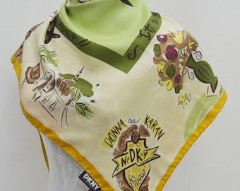 FREE SHIPPING!!! DKNY Vintage Dkny Donna Karan New York Spring Shopping Dogs Motif Theme 100% Silk Scarf