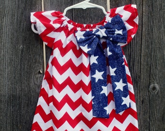 Fourth of July Red Chevron Patriotic Red White Blue Peasant Dress - Baby Girl