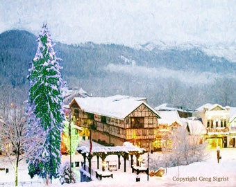 """Winter Holiday in the Village: Fine Art Print Available in 5x7"""", 8x10"""", 11x14"""", 13X19"""""""