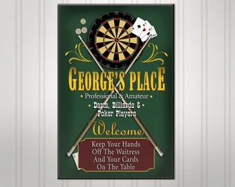 Personalized Game Room Bar Sign, Green or Burgundy Man Cave Pub Sign, Personalized Sign, Custom Beer Sign, Man Cave Bar Decor