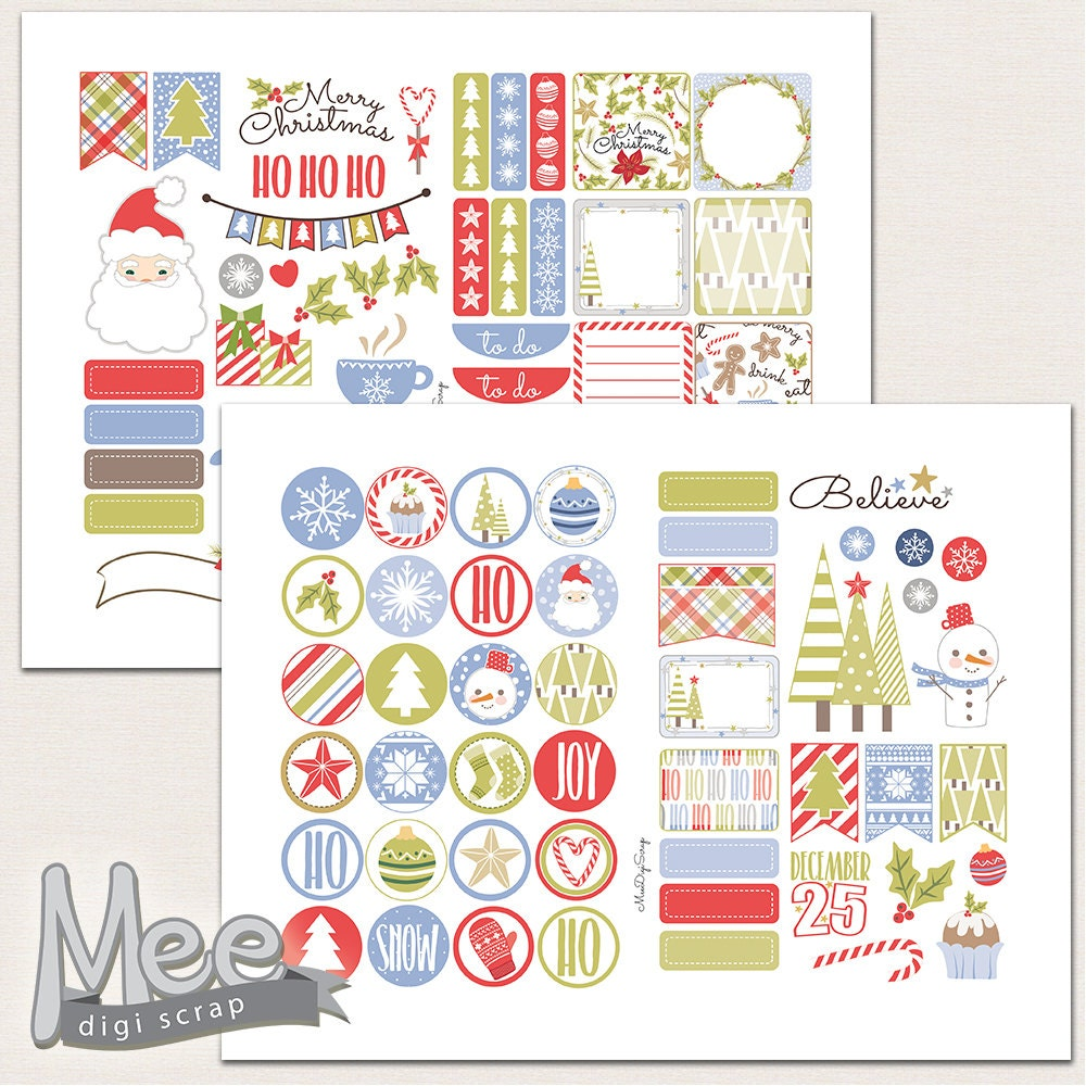 Christmas planner stickers printable,Winter stickers,Decorative ...