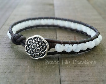LATE SHIP Moonstone leather wrap bracelet single wrap flower of life boho bracelet yoga bracelet earthy stacking bracelet