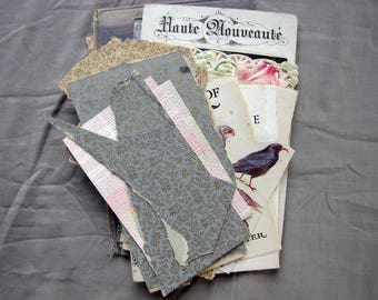 antique ephemera - shades of blue grey and brown vintage paper -  scrapbooking pack for collage or mixed media art supply