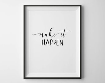 Make It Happen | Hand-lettered typographic print