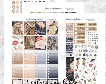 Autumn rain printable planner stickers /EC vertical weekly kit / ECLP / pdf, jpg, cut files
