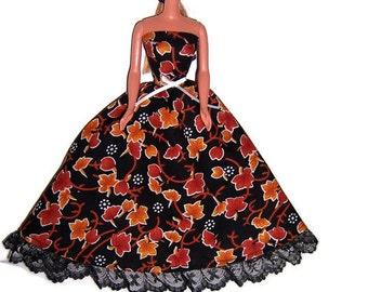 Fashion Doll Clothes-Autumn Leaves Print Strapless Dress