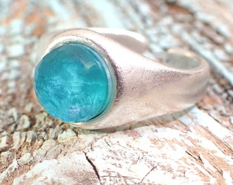 Sales, Silver Gemstone Ring, Amazonites doublet bohemian Ring , Blue Boho Ring , Summer Blue Rings  by VintageRoseGallery