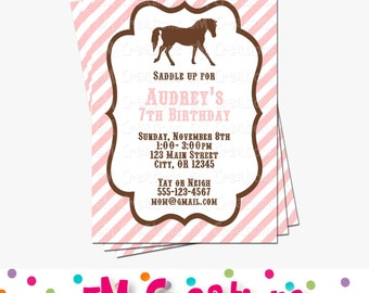 Pony Party Invitation - Horse Birthday Invitations - Cowgirl Birthday Party - Digital Printable Invitation - Girl Birthday Party Pink Brown