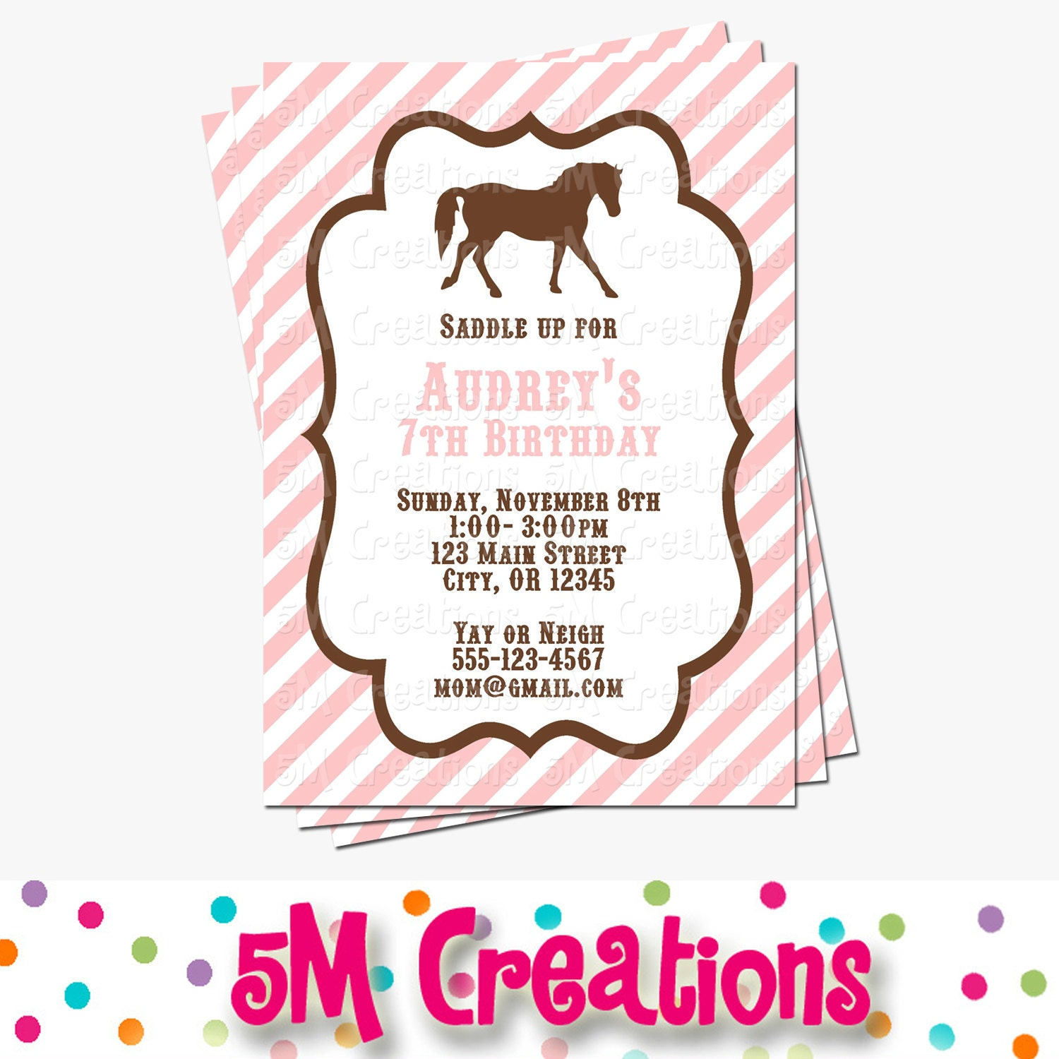 Pony party invitation horse birthday invitations cowgirl zoom monicamarmolfo Image collections