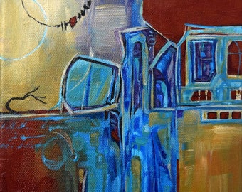Original Acrylic Painting, Abstract Painting, FREE Shipping,  Cityscape, Painting, Contemporary art, Abstract Tree Art, Tribal