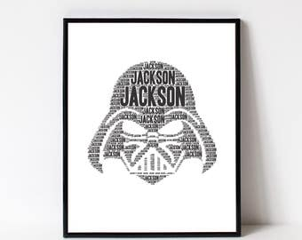 DARTH VADER Print - Star Wars Room Decor - Darth Vader Wall Art Print Kids Room- Darth Vader Poster - Personalized Name Art Typography Print