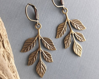 Leaves and Sparrow  Earrings, Dangle Earrings, Bird Jewelry, gift for her