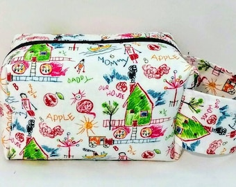 Our little house make-up bag, boxy bag, gifts for girls, gifts for him, cosmetic bag, toiletry bag, Travel bag, large bags