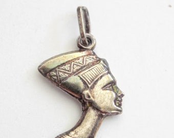Vintage Nefertiti Pendant Charm Sterling Silver Italy Egyptian Solid