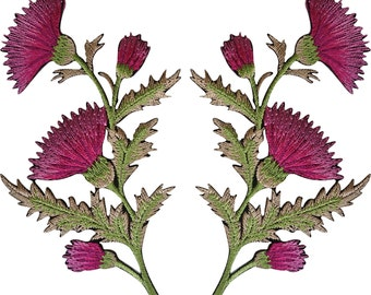 Pair of Pink Thistle Flower Patches Iron Sew On Embroidered Patch Badge Flowers