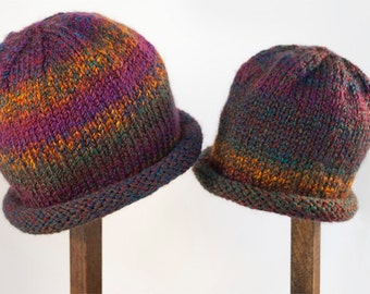 Child Adult Hat Rolled Brim Beanie Color No. 27 REGAL