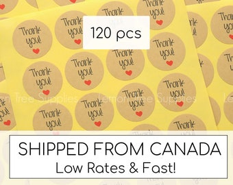 Thank you stickers, thank you stickers with heart, heart thank you stickers, wedding thank you stickers, wedding labels, pack of 120