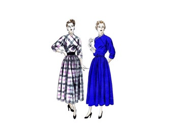 1940s Full Skirt Dress with Diagonal Closing Vogue 6354 Vintage Sewing Pattern Size 16 Bust 34 UNCUT