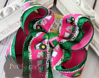 Tractor Hair bow Large Extra Large Green Tractor Bow Pink Tractor Hairbow