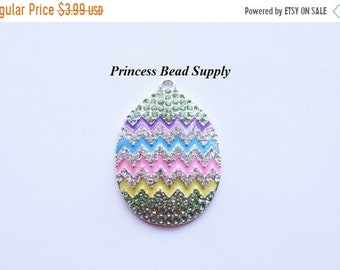 SALE Colorful Easter Egg Rhinestone Pendant for Chunky Necklaces,  42mm x 34mm Spring Pendant, Chunky Necklace Pendant, Easter Egg Cabochon